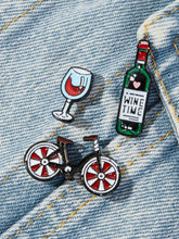 Load image into Gallery viewer, Multicolored Bicycle & Wine 3pcs Brooch Set