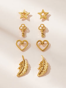 Golden 4pairs Leaf & Star Shaped Metal Stud Earring