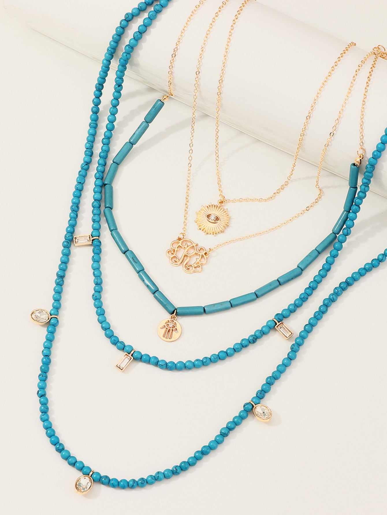Multi Layered Golden Coin With Blue Beaded Pendant 5pcs Necklace