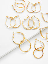 Load image into Gallery viewer, Golden Mixed Pattern Design 9 Pairs Hoop Earring Set