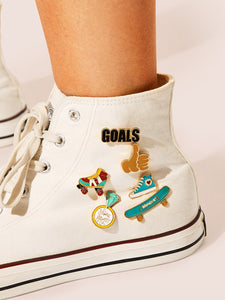 Multicolor 6pcs Metal Hand & Shoe Detail Brooch