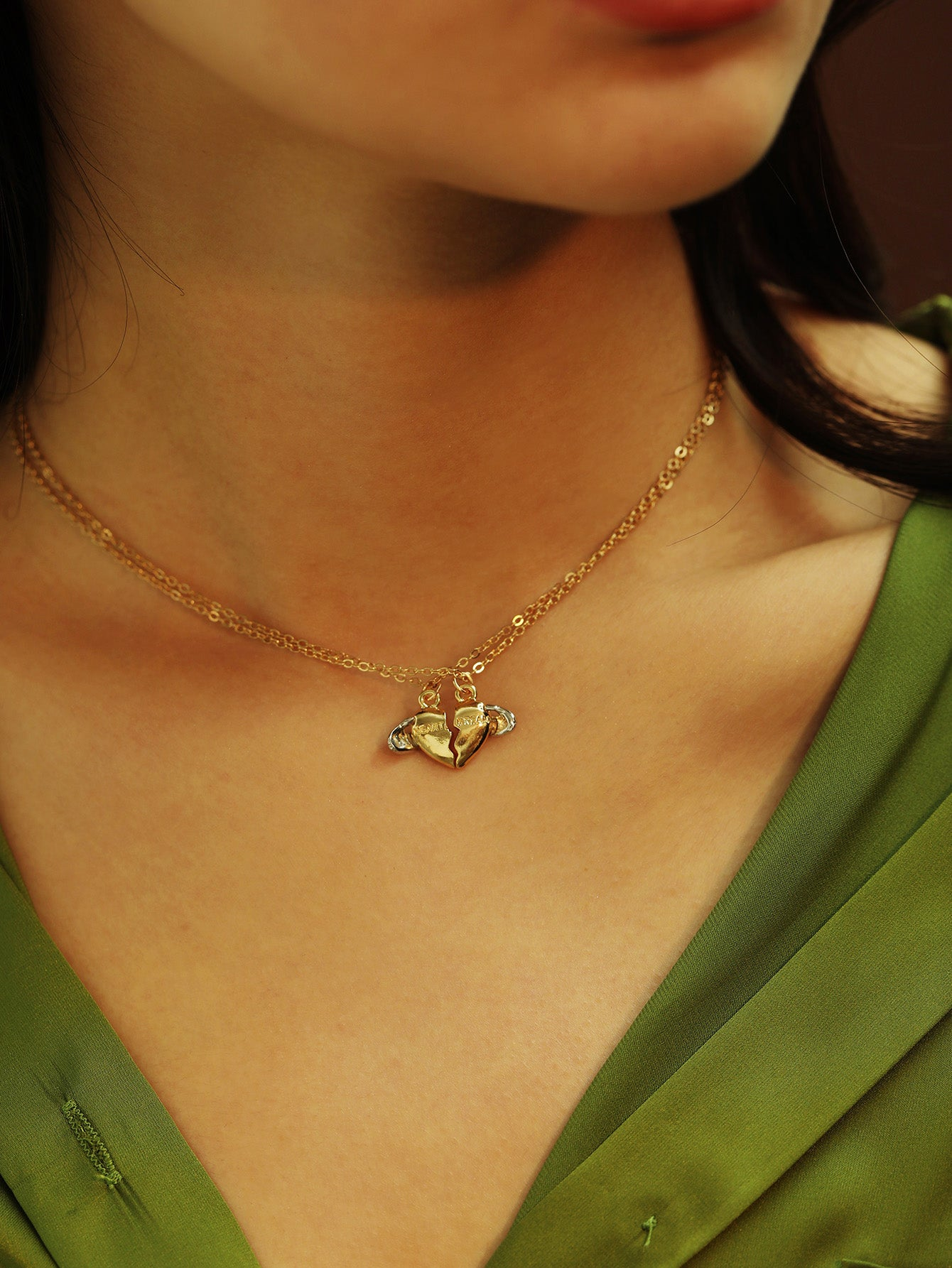 Golden Heart Half Pendant 2pcs Chain Necklace
