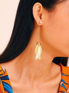 Yellow 1pair Petal Decor Chain Metal Drop Dangle Earrings