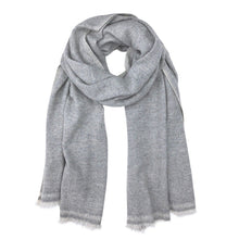 Load image into Gallery viewer, Herringbone Gray Handloomed Himalayan Cashmere Scarf