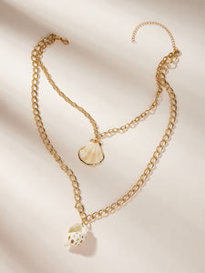 1pc Golden Double Layered Shell Pendant Chain Necklace