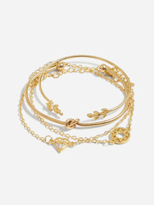 4pcs Golden Twist & Leaf Cuff, Link Bracelet Set