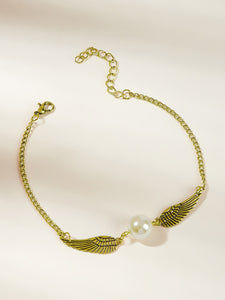 Golden Wing Decor With Faux Pearl 1pc Chain Bracelet