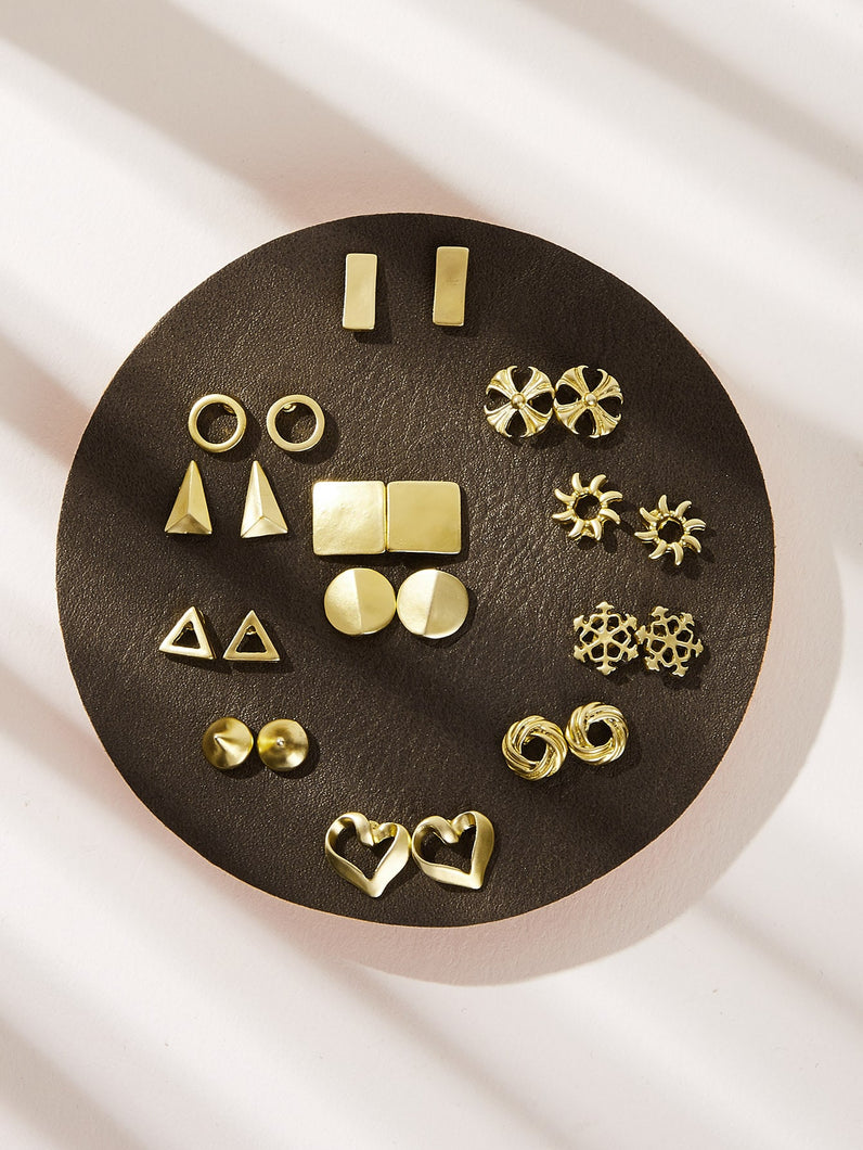 Golden 12pairs Geometric & Heart Shaped Gold Metallic Stud Earrings