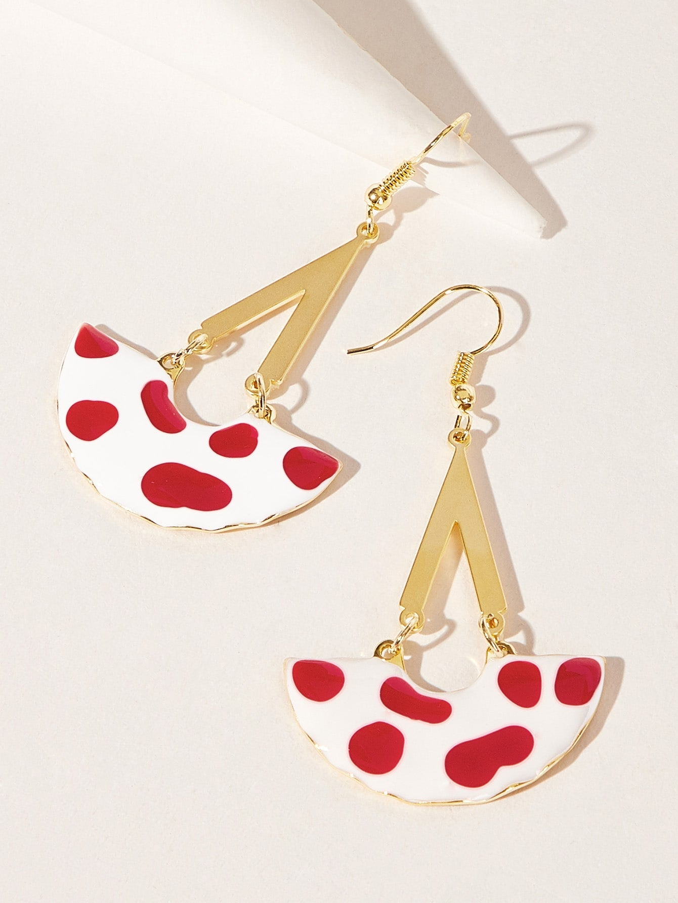 Multicolored Half Round Dot Detail 1 Pair Drop Dangle Earrings