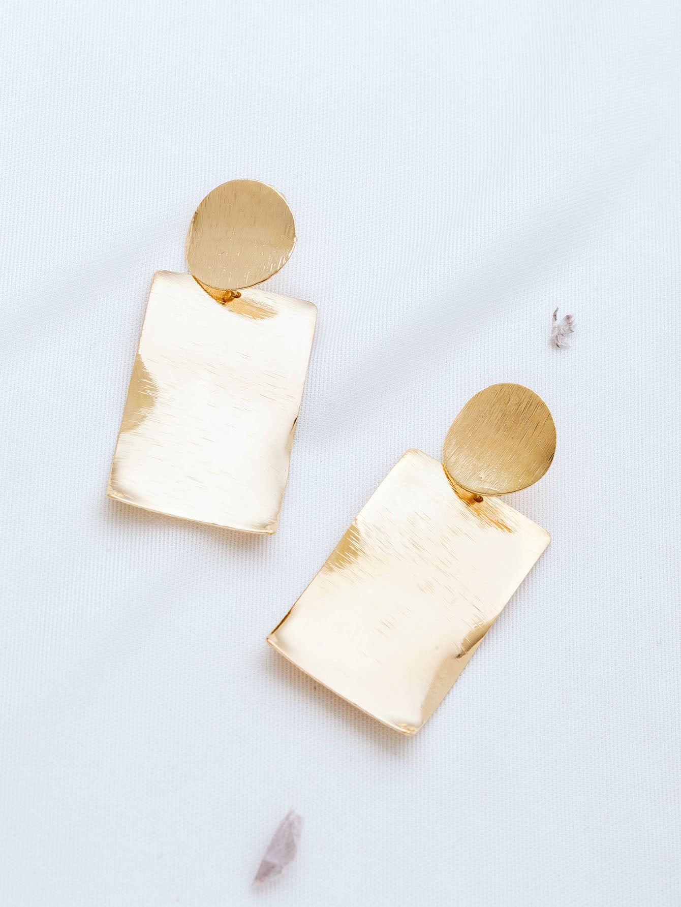 Rectangle Gold Stud Earrings