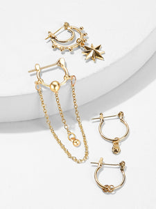 Golden  4pcs Ring & Chain Metal Pendant Cut Hoop Earrings