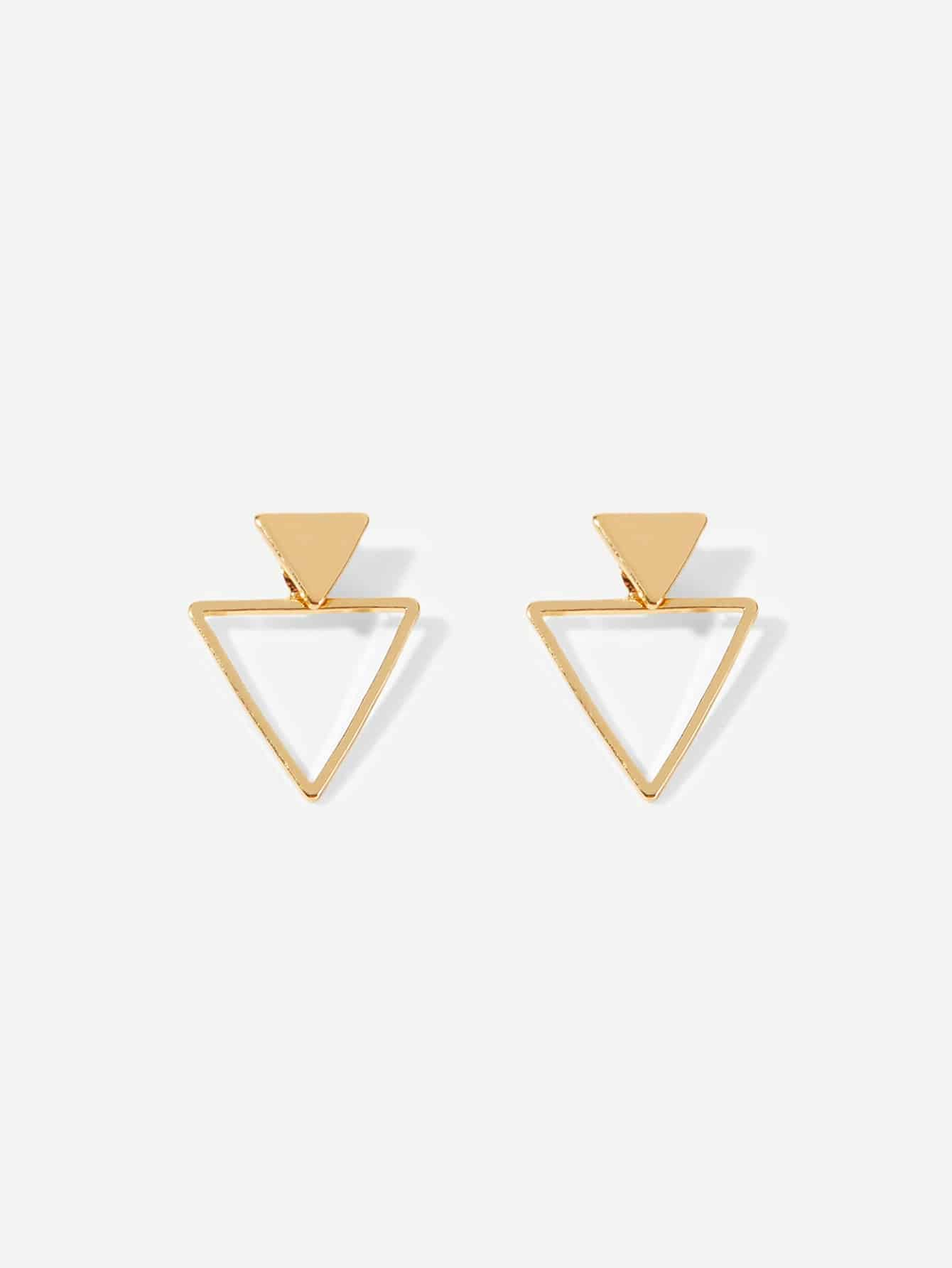Multicolored Triangle Shaped Open 1 Pair Stud Earrings