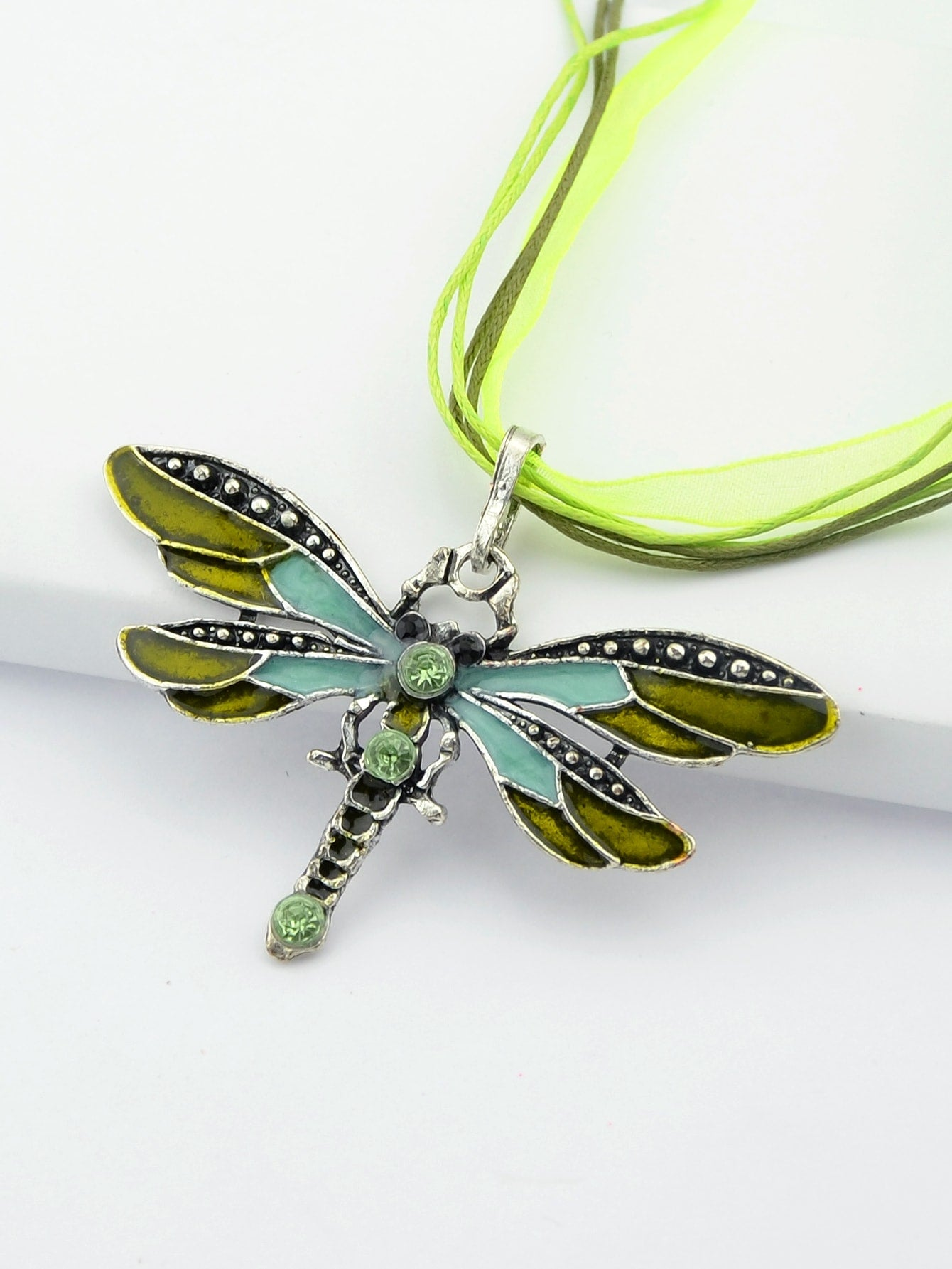 Multicolored Green Diamond Dragonfly Pendent Necklace