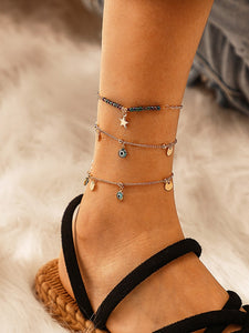 Multicolored Eye & Star Charm 3pcs Golden Chain Anklet