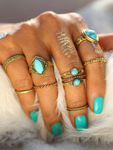 Load image into Gallery viewer, 8pcs Golden Ring Set With Turquoise Gemstone