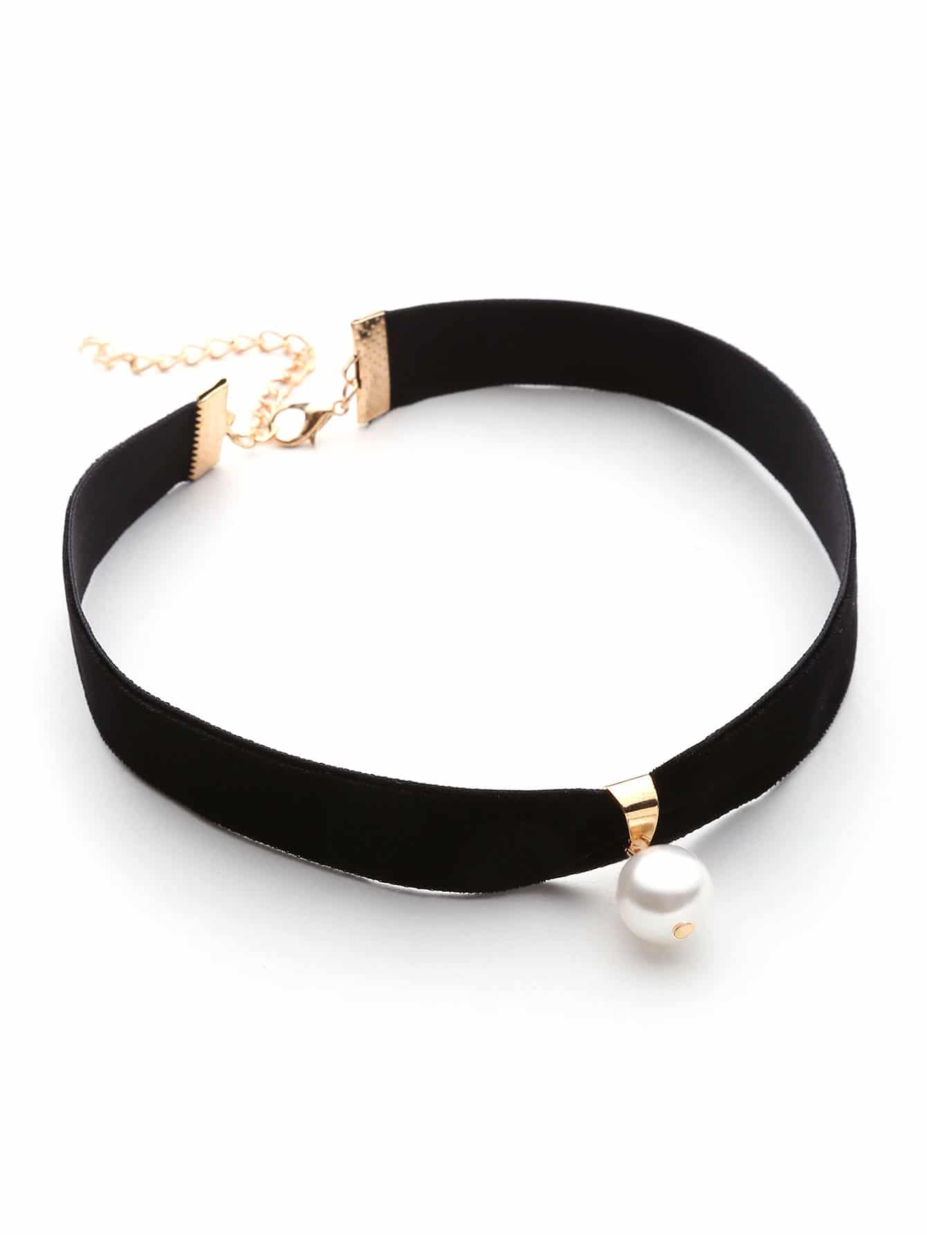 Black Velvet With White Faux Pearl Embellished Choker