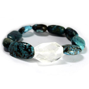 Stone Crystal Nugget Rock Candy With Turquoise Beads Stretch Bracelet