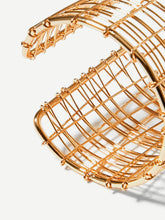 Load image into Gallery viewer, Golden 1pc Multi Layered Metal  Hollow Cuff Bracelet