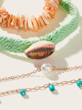 Load image into Gallery viewer, Multicolored Shell Decor With Faux Pearl 4pcs Golden Chain Bracelet