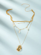 Load image into Gallery viewer, Golden Triple Layered Shell & Faux Pearl 1pc Pendant Chain Necklace