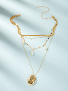 Golden Triple Layered Shell & Faux Pearl 1pc Pendant Chain Necklace
