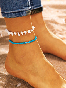 Multicolor 2 Piece Bead & Stone Decor Anklet For Women