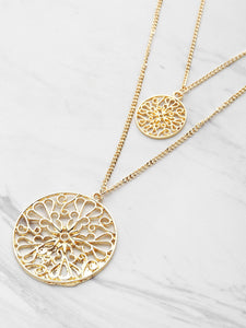 Golden Hollow Out Round Metal Pendant Double Layered Necklace