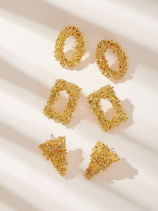 3 Pairs Golden Geometric Shape Textured Stud Earrings