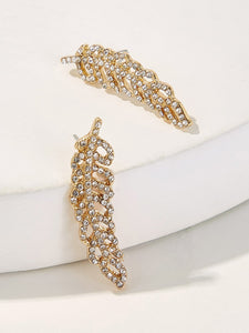 Golden Feather Shaped 1pair Rhinestone Stud Earrings