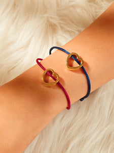 Blue And Red 2pcs Bracelet With Golden Heart