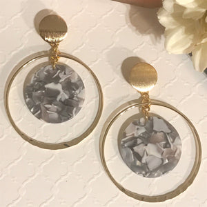 Hillary Gold Plated Brass Acrylic Resin Hoops Earrings