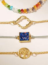 Load image into Gallery viewer, Multicolor Beaded Link 4pcs Glitter Detail Geometric Charm Gold Bracelet