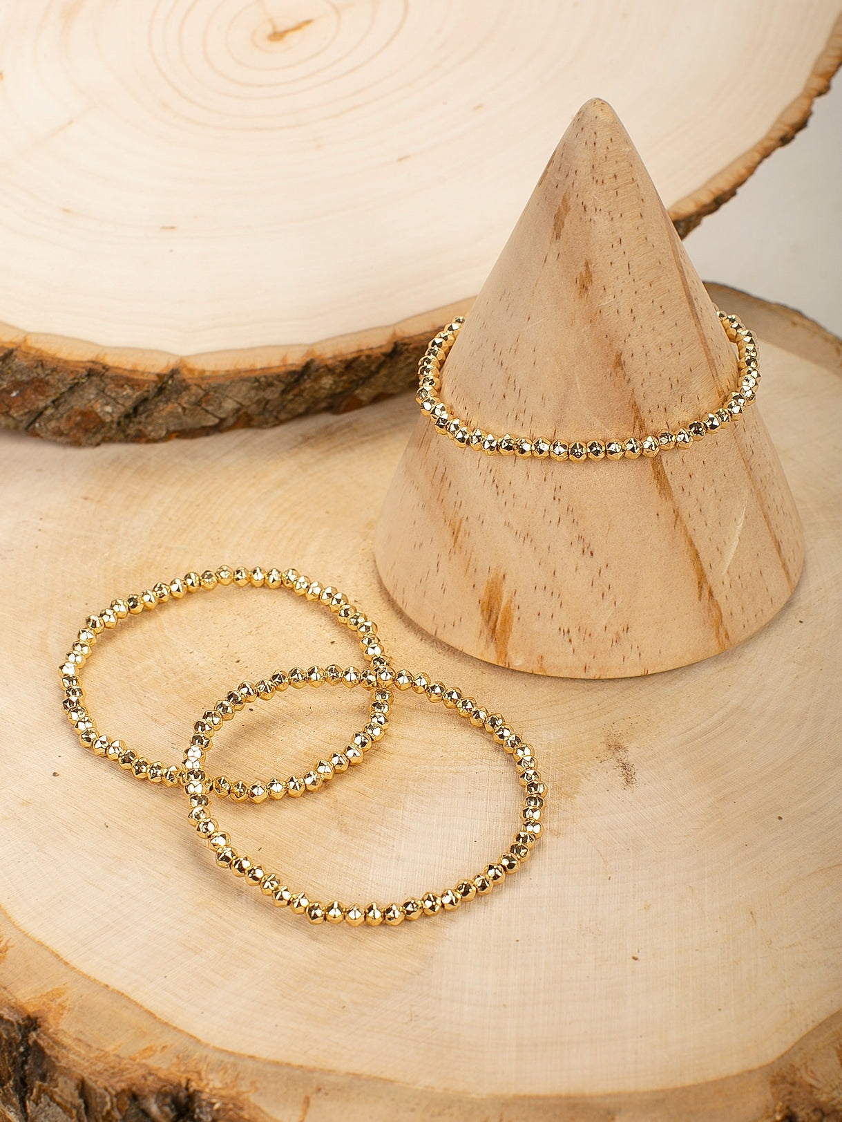 Golden Stretch Beaded Bracelets Set Of 3