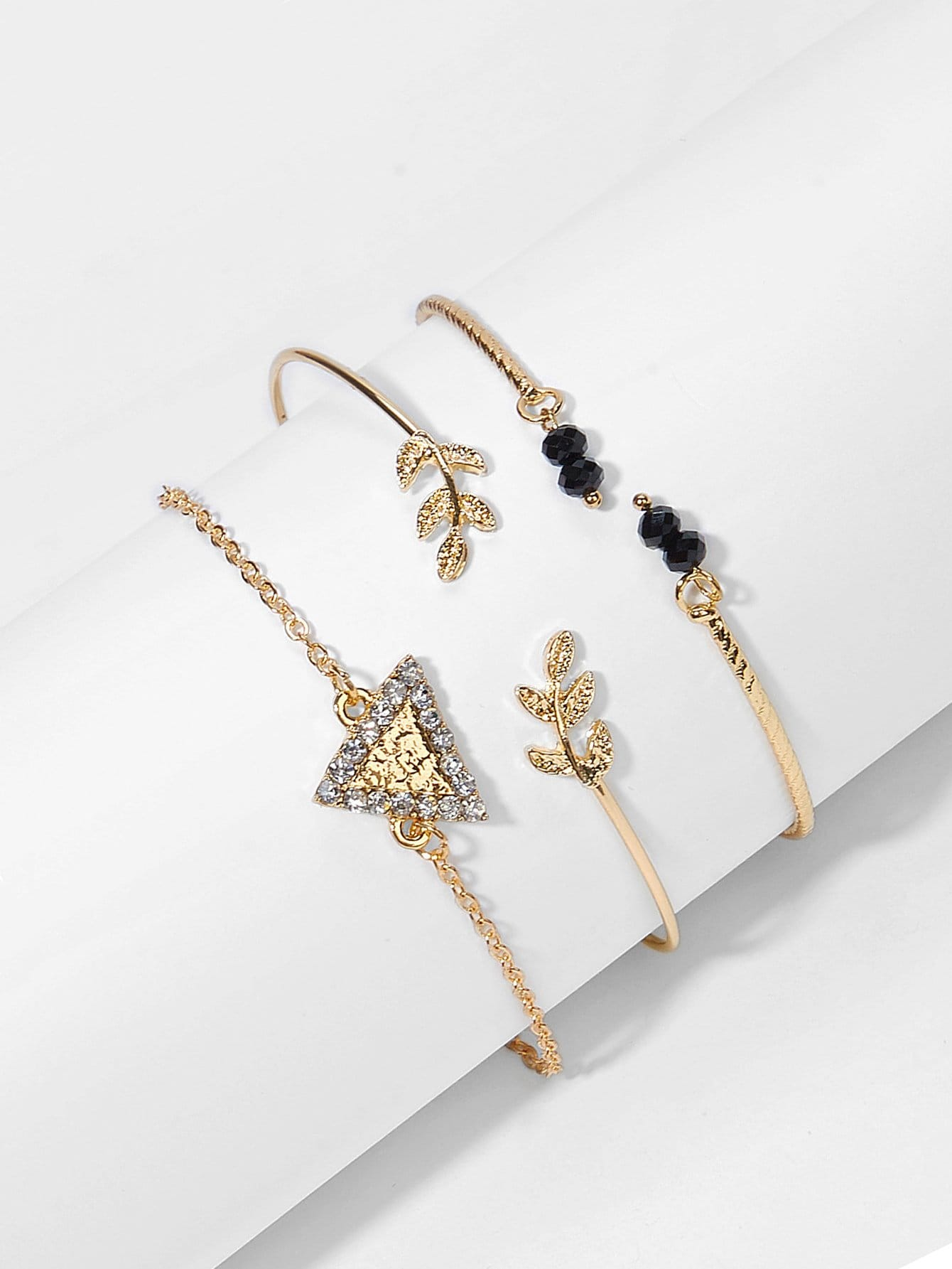 Golden 3pcs Rhinestone Metal Triangle & Leaf Cuff, Link Bracelet Set