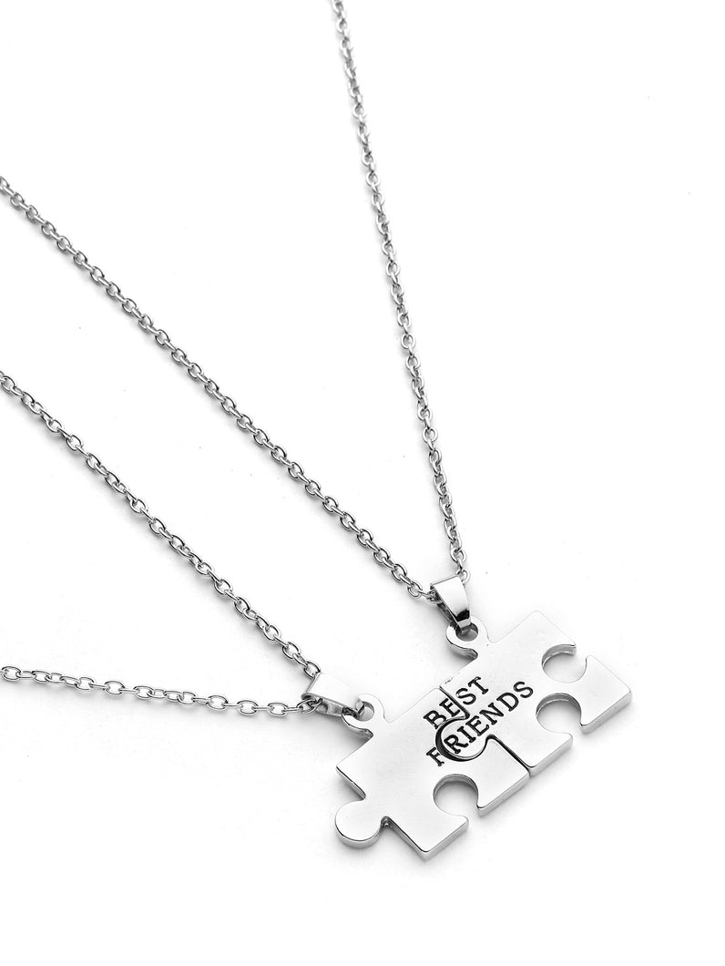 Grey 2pcs Geometric Silver Puzzle Friendship Pendant Necklace
