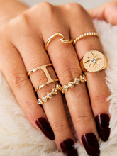 Load image into Gallery viewer, Golden Hollow Out Rhinestone Engraved 5pcs Ring Set