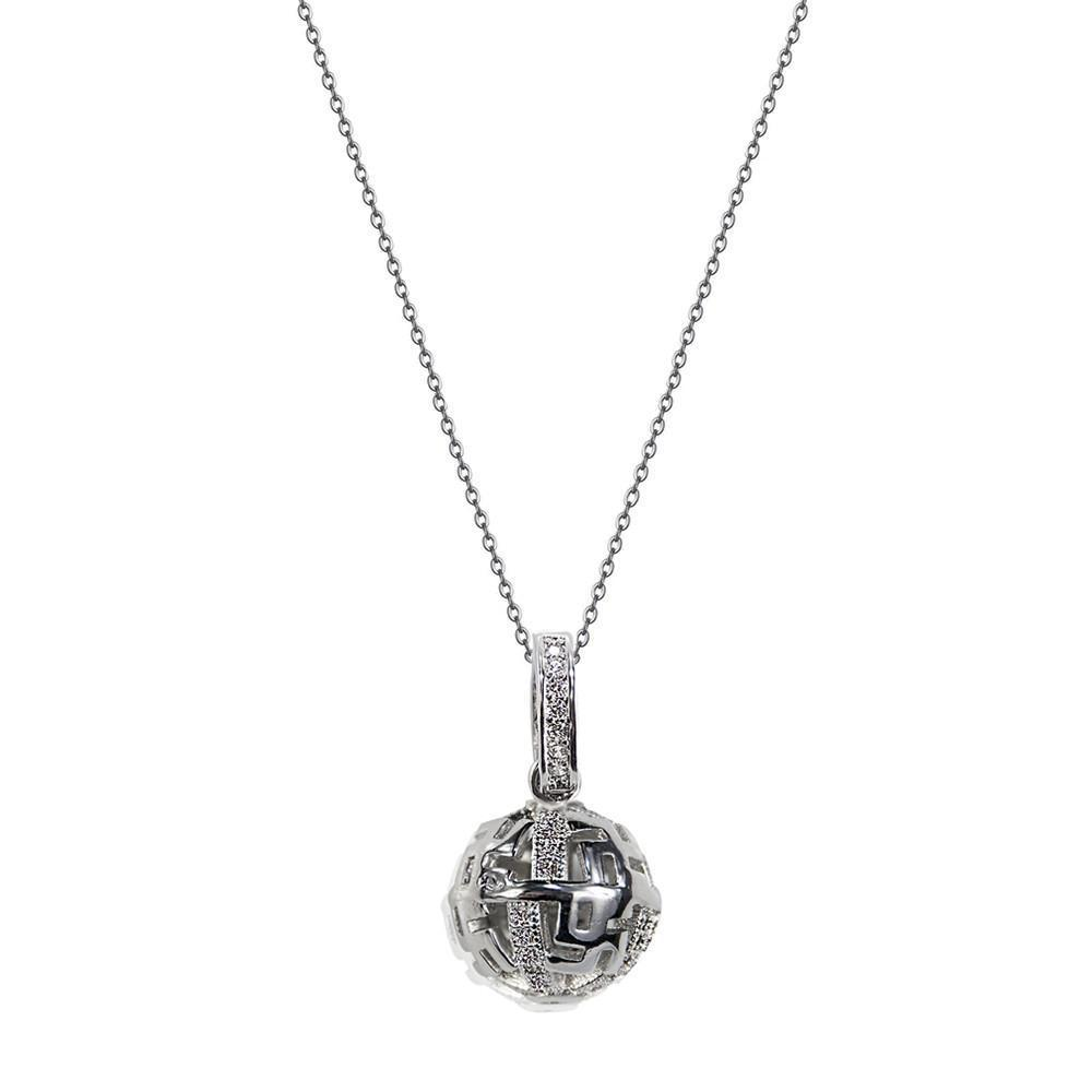 Courage Shiny Ball Pendent With Zirconia Pave Stainless Steel Chain Necklace