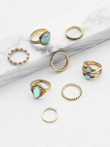8pcs Golden Ring Set With Turquoise Gemstone