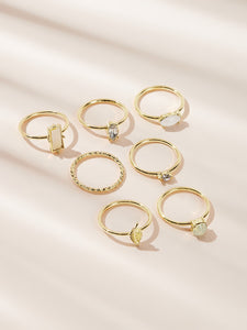 Golden Bar & Leaf Decor Ring With Gemstone Set 7pcs