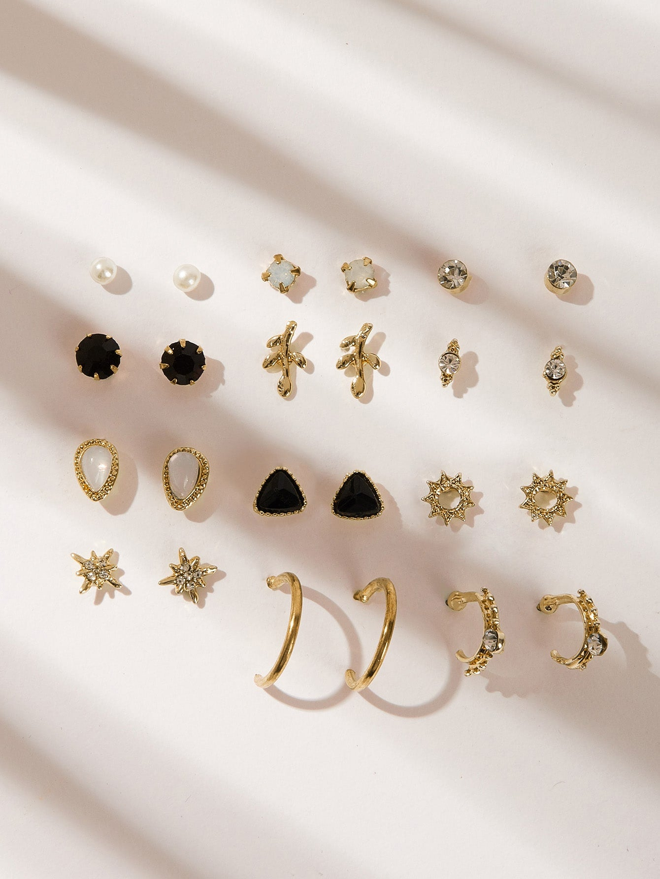 Gold Grey 12pairs Leaf & Sun Shaped Silver Metal Stud Earrings With Gemstone&Pearls