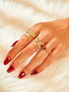 5pcs Golden Cut Out Casual Ring