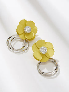 Grey And Yellow Flower Decor Rhinestone 1pair Drop Earrings