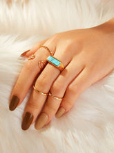 Load image into Gallery viewer, Golden 5pcs Simple Gemstone Metal Ring Set