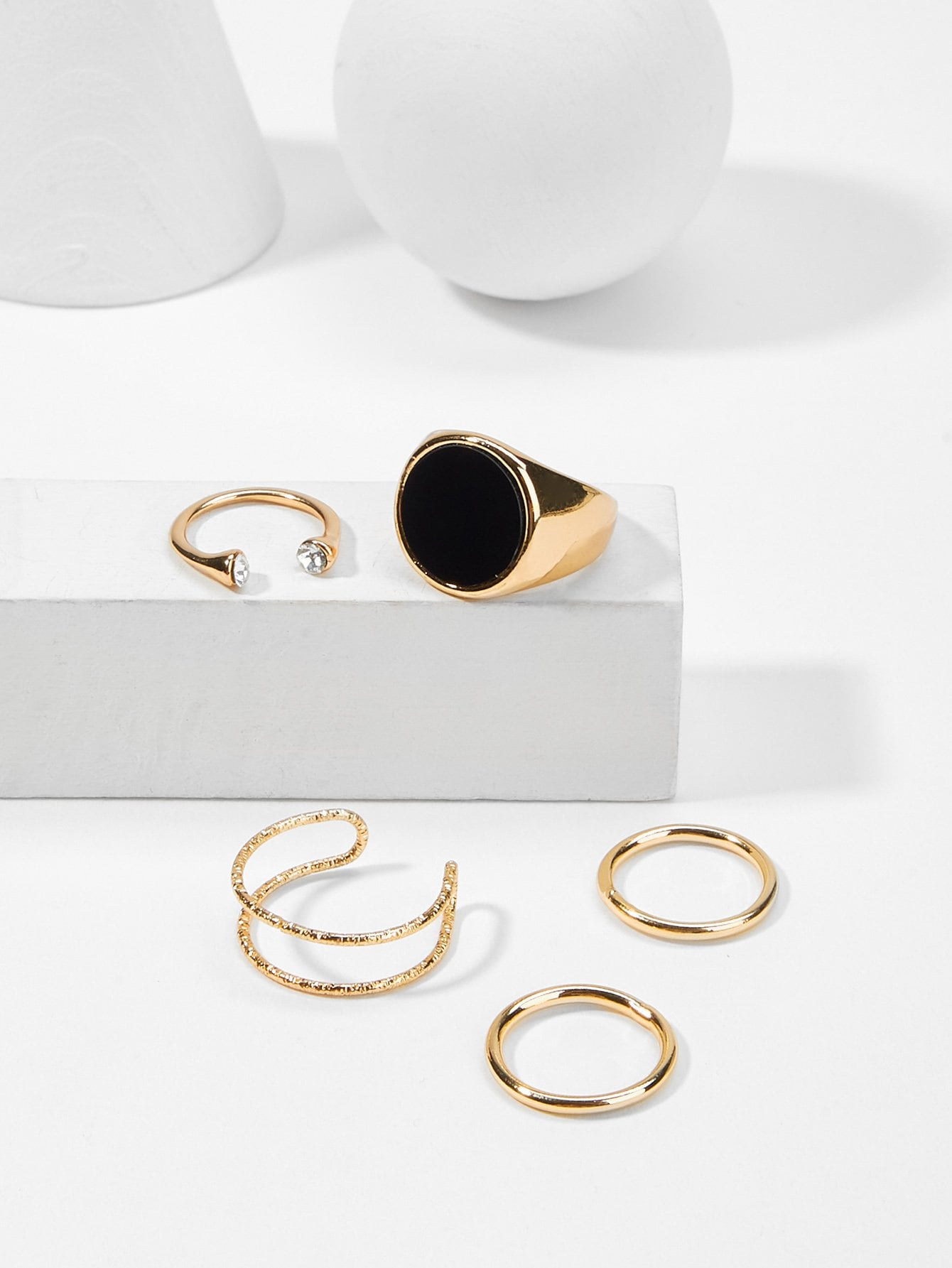 Golden And Grey Round Design 5pcs Ring Set