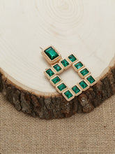 Load image into Gallery viewer, Multicolor Emerald Rhinestone Silver Square Stud Dangle Earrings
