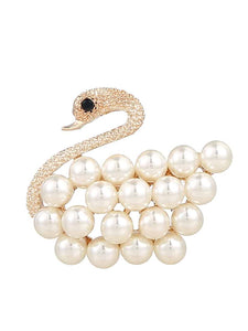 Golden Swan With White Faux Pearl Decorated Brooch