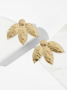 Golden Leaf Swing Textured 1 Pair Stud Earrings