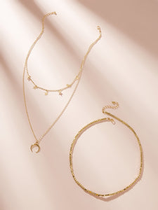 Golden Moon & Star Charm 2pcs Chain Necklace