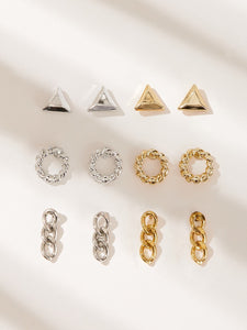 Gold Grey 6pairs Geometric & Chain Shaped Silver Metallic Stud Earrings