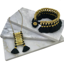 Load image into Gallery viewer, Anika Bohemian Black Temple Necklace With Cotton Tassels